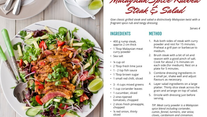 Jackie M Recipe Card 1 – Malaysian Spice-Rubbed Steak & Salad