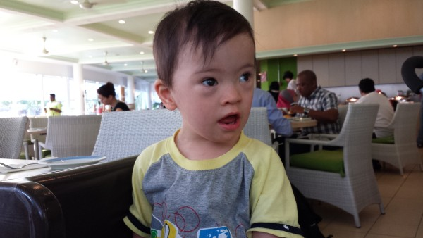 "Baby Noah at breakfast at Golden Sands Resort, Penang. He learned how to say ""Gah"" and was saying it the whole trip. No, I don't know what it means either."