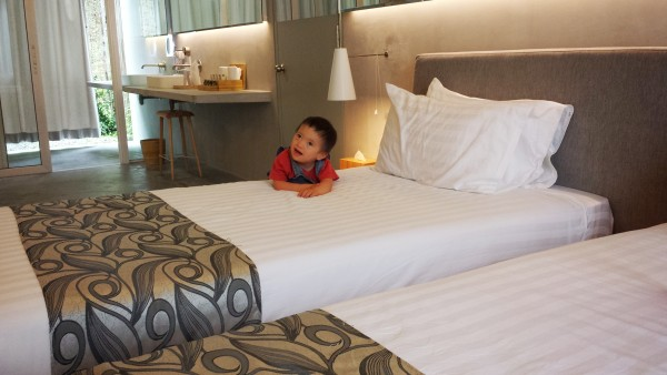 Baby Noah in my Executive Suite at Belum Rainforest Resort