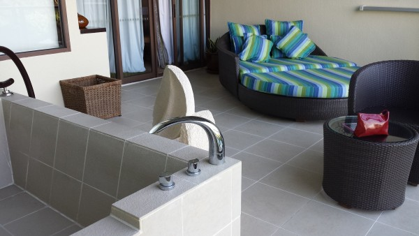 Private spa and balcony at Rasa Ria.