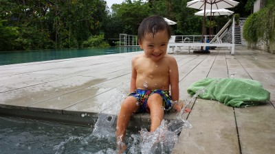 Baby Noah at the infinity pool at Belum Rainforest Resort