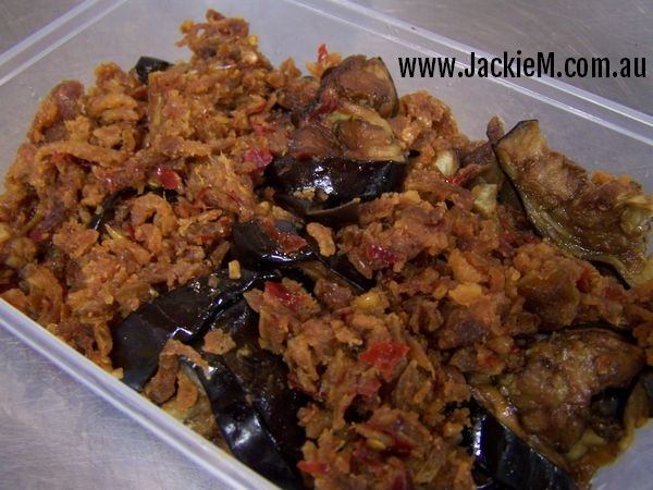 Eggplant sambal with minced dried shrimp