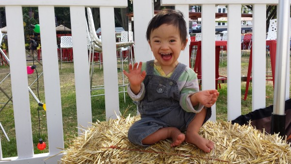 Baby Noah at the markets