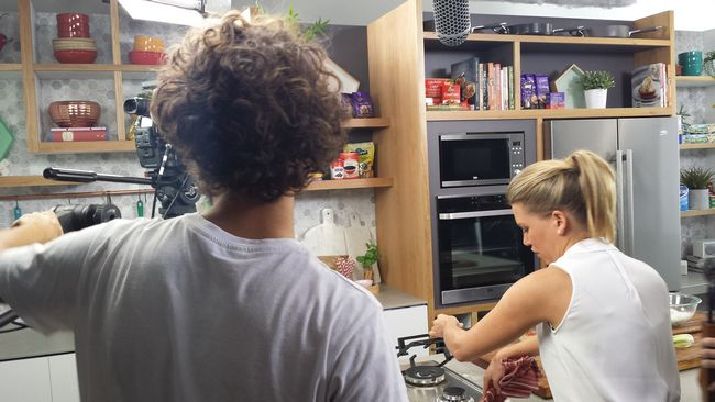 Behind the scenes at the Everyday Gourmet TV studio.