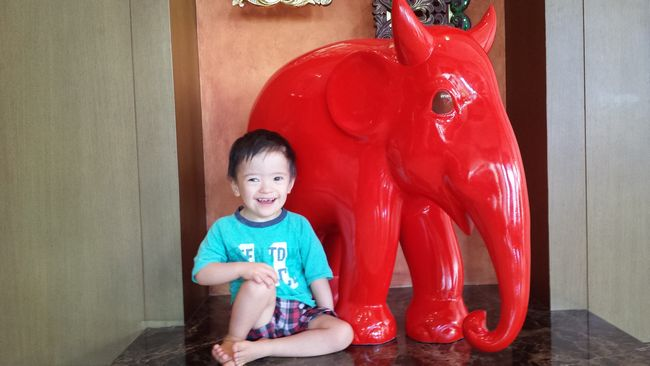 Baby Noah hangs out with the elephant statues at the Shangri-La lobby while waiting for our shuttle bus. This is as close as we'll get to the elephants in Chiang Mai on this trip.