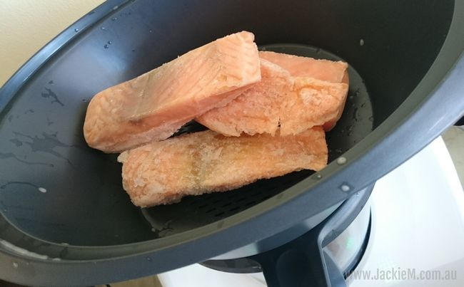 Frozen salmon fillets about to be steamed
