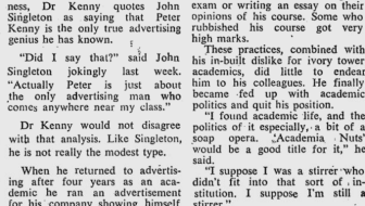 Snippet of an article about Dr. Peter Kenny from SMH in 1980 (found online)