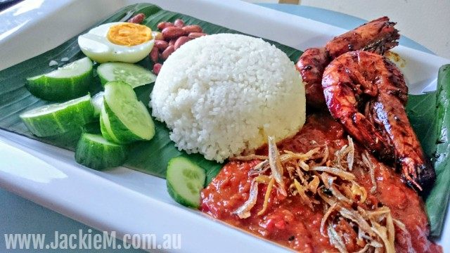 Nasi Lemak with Assam Prawns