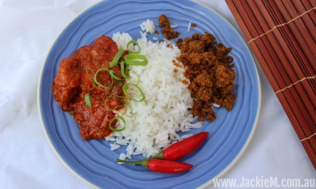serunding and mild prawn sambal