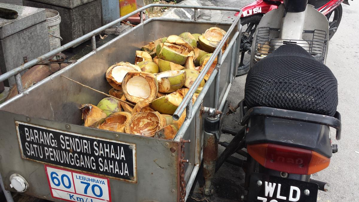 Coconut shells from drinks stall in Kampung Baru, KL