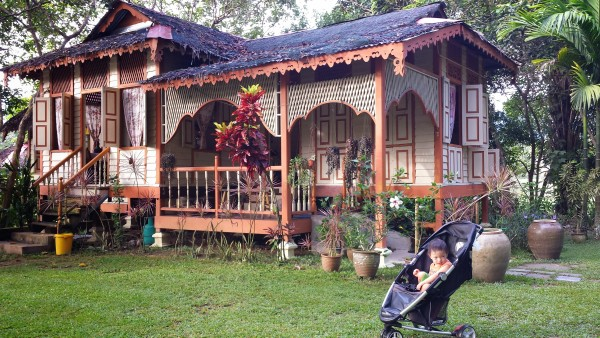 Baby Noah outside the main house at Sukasuka Lake Retreat.