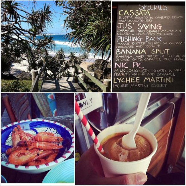 """""""Summer means to me lazy days spent at the beach and beautiful views of the clear blue ocean, a refreshing gelato to cool off on a hot summer's day, fresh prawns with my homemade seafood sauce and iced coffee from my local cafe to start off the day."""" - Kirsty Gilford"""