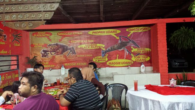Indra Tom Yam Restaurant's menu consists of a variety of crab, prawn and other dishes, but its most popular is Maggi Ketam