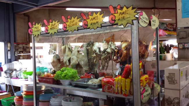"""Uniquely Kelantanese dishes on the menu including Nasi Air - literally """"water rice"""". Also, notice the Maggi noodles in the window - per my Maggi Ketam blog post"""
