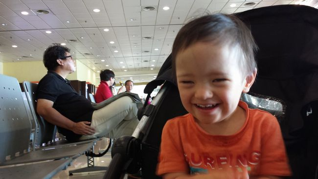 Baby Noah at Kota Bharu airport waiting for our flight out to our next adventure - Penang.