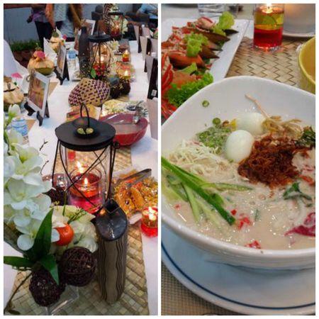 "(1) Elaborate table setting at Perdana Resort, Kota Bharu (2) The famous Laksa Kelantan, with added ""bling"" including serunding (meat floss) and quail eggs"