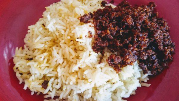 serunding with rice
