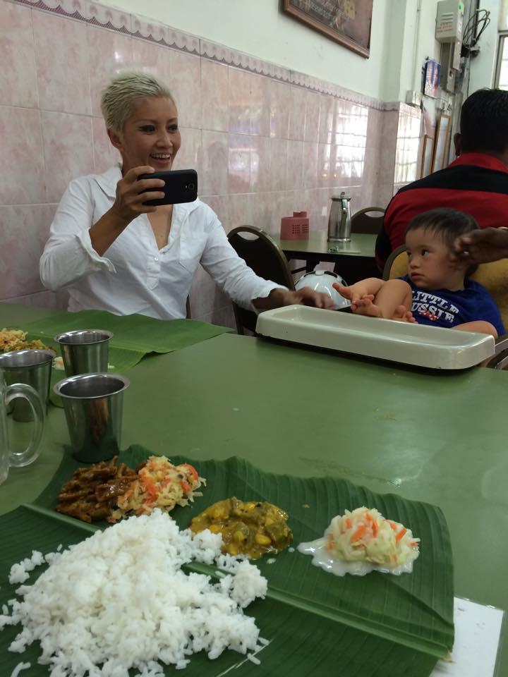 Baby Noah chillin' at Visaalatchi's Chettinad restaurant in Brickfields