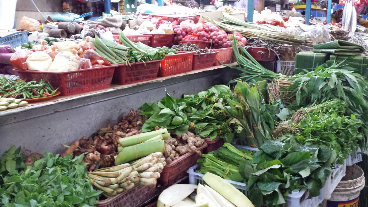 Herbs and vegetables at Chow Kit Wet Market