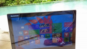 Poolside at Belum Rainforest Resort with my Lenovo Yoga 2 Pro